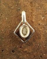 8x6 Cabochon Silver Diamond Shape Pendant Setting