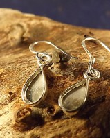 Silver Drop Earrings To Fit Pear Shaped Stone Or Resin
