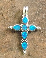 Silver And nSimulated Opal Cross