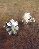 Silver Flower Studs Set Mother Of Pearl