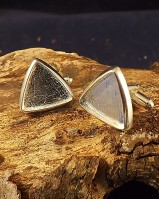 Silver Triangular Swivel Cufflinks For Stone Setting