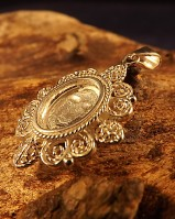 Solid Silver10 x 8 Unset Filigree Pendant