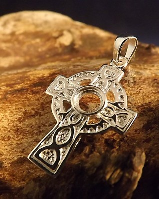 Small Solid Silver Celtic Cross finding for 5mm cabochon