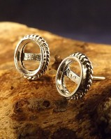 Silver Rope Edge Stud Earring Mount Settings 7x5 or 8x6 (for 7x5,8x6 Cabs)