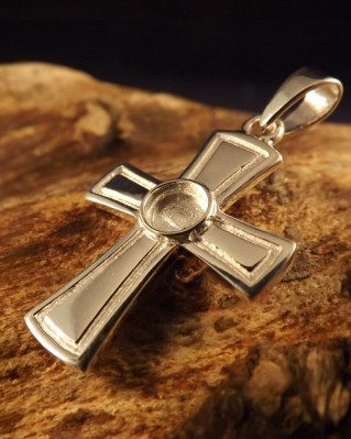 Silver Cross For Cabochon 5mm