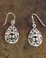Silver Flower Drop Earring