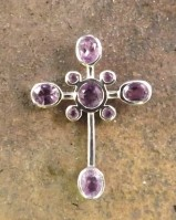 9 Stone Amethyst Set Cross