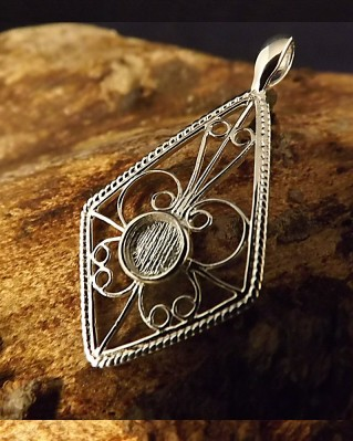 Filigree Pendant Setting For 5MM Gemstone Cabochon