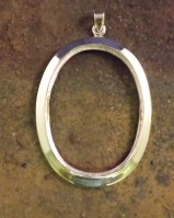 Silver 40x30 Pendant Setting For Cabochon