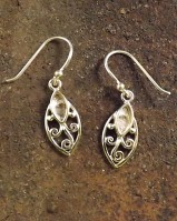 Small Silver 7X4  Marquise  Drop Earring