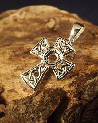 Silver Unset Cross For 6mm Cabochon