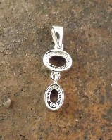 2 Stone Drop Pendant Setting 6x4 and 7x5