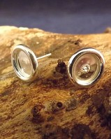 8mm Plain Ear Stud Mounts For Stones Or Resin
