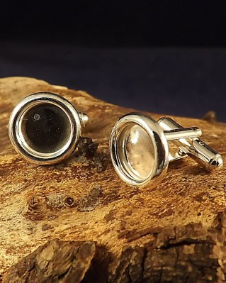 Solid Silver Cufflink Setting For 10 or 12mm Cabochons
