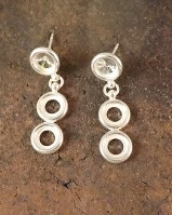 Silver 3 Stone Drop Earring  Mount  For 6mm