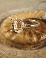 Silver 10x8 Ring Setting For Faceted Stone