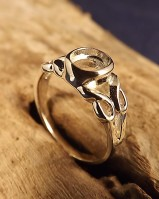 Ladies Silver Ring Mount For 7x5 Cabochon