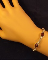 Silver Bracelet With Amer Stones