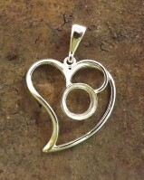 Silver Heart Pendant Cabochon Setting 10mm