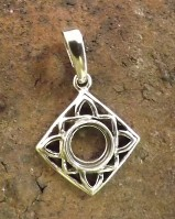 Silver Square Pendant Setting 8mm Fitting