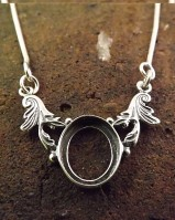 Solid Silver 12x10 Pendant Mount With Chain