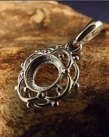 Unset Silver Pendant Mount For 8MM Stone