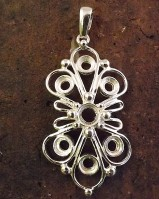 Silver Wire Stye Pendant For  5mm and 6mm Stones