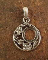 Silver  Flower Pendant Setting for 13mm