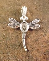 Silver Dragonfly Pendant Setting For  7x5
