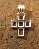Silver  5 stone cross   for approx 5mm stones