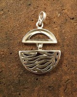 Solid silver wave pendant 21x8