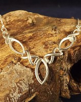 Solid silver necklet for marquise 14X7 stone