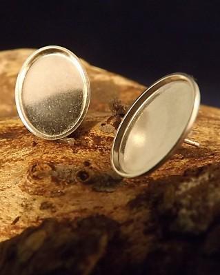 heavy Silver Stud Earrings Cup Mounts