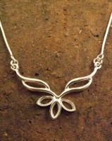 Silver marquise pendant with chain For 4x8 Stones