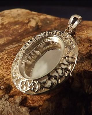 Fillagree Silver Locket Setting For 18x13 Cabochon