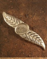 Silver leaf style brooch for cabochon