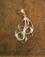 Silver pendant for two 8x6 cabochons