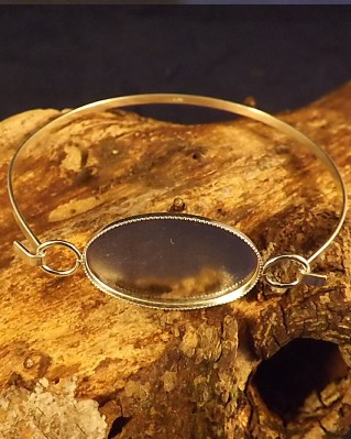 Light Weight Silver Bangle For Cabochon