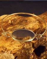 Light Weight Silver Bangle Setting For Cabochon
