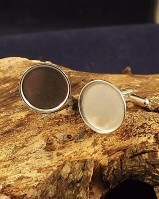 Silver Collet Bezel Cufflinks to take 15mm Cabochon Or Resin