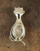 Silver Cat Brooch For Setting 14x10 Cabochon Or Gemstone