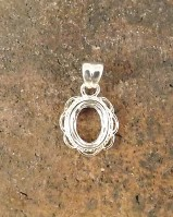 Frill Edge Silver Pendant Mount For 8x6 Stone