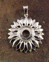 Silver Sunflower Pendant Setting For 10mm Cabochon