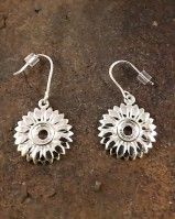 Silver Sunflower Drop Earring For 5mm Cabochon