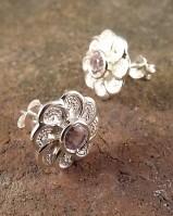 Silver Amethyst Or Garnet Stud Earrings