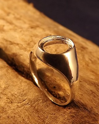 Ladies Silver Seal Ring For 10x8 Stone