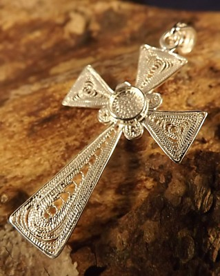 Silver fillagree Cross To Set 5mm Cabochon