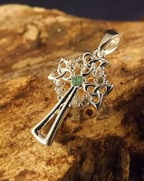 Emerald And cz Silver Cross