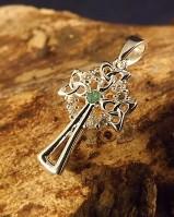 Emerald And cz Silver Cross