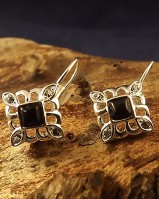 Square Set Earrings With Onyx Or Turquoise